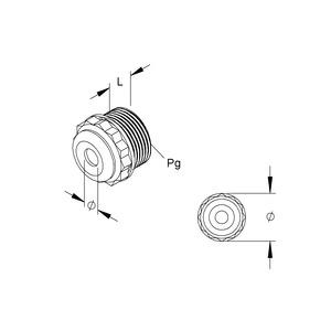 485/09, Dichtungsnippel, Pg 9, für Kabel-Ø 5-9,5 mm, Kunststoff PE, RAL 7035, lichtgrau