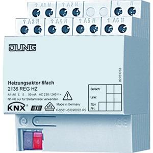 2136 REG HZ, Heizungsaktor, 6fach, REG, Kontaktart: elektronisch, 4 TE