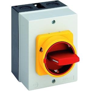 H220-41300-700M4 Haupt-/Notausschalter 25A, Haupt-/Notausschalter im Gehäuse 3-polig In=25A M-VHS gelb/rot IP66 Isolierstoffgehäuse
