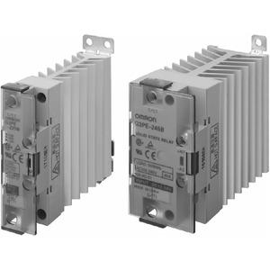 G3PE-225B 12-24VDC, Halbleiterrelais, 1-phasig, integrierter Kühlkorper, Last: 25A 75…264V AC, Ansteuerung: 9,6…30V DC, Null-Punkt schaltend, DIN-Schienen/Wandmontage