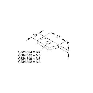 GSM 305, Schräggleitmutter ohne Zyl.-Kopfs., Gewinde M5, H=2,5 mm, B=27 mm, Stahl, galvanisch verzinkt DIN EN ISO 2081/4042, blau