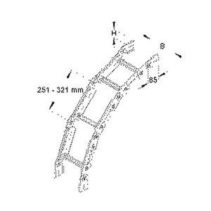 KGS 60.403 F, Bogen für KL, verstellbar, vertikal, 60x400 mm, Sprossenabstand 300 mm, Stahl, feuerverzinkt DIN EN ISO 1461, inkl. Zube