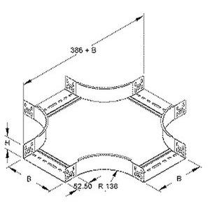 RKS 60.100, Kreuzung für KR, 60x102 mm, mit ungelochten Seitenholmen, Stahl, bandverzinkt DIN EN 10346, inkl. Zubehör
