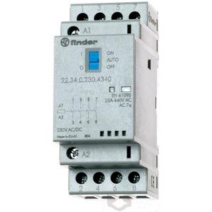 22.34.0.230.4340, Schütz für Reiheneinbau, 4 Schließer 25 A, Spule 230 V AC/DC, Auto-Off-On-Schalter, LED-Anzeige
