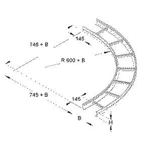 KLBG 60.603, Bogen 90° für KL, groß, 60x600 mm, mit gelochten Seitenholmen, Stahl, bandverzinkt DIN EN 10346