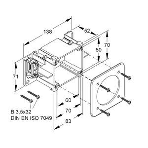 CED80, CEE-Geräteeinbaudose, 71x83x52 mm, Kunststoff PA, Farbe grau