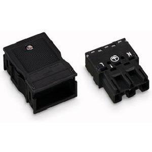 Stecker mit Zugentlastungsgehäuse 3-polig schwarz