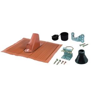 ZTS 60ro, Mast-Montage-Set 60 mm; Farbe: rot; bestehend aus: Mastkappe ZTC 08, Abdeckkragen, Alu-Dachblech, Mastschuh, Mastschelle, Holzschrauben