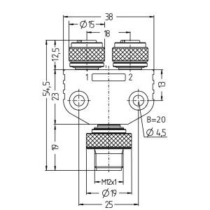 FSM5-2FKM5.4/S89, 2-fach Verteilersysteme, Blockverteiler Stecker M12 x 1 - 2x Kupplung M12 x 1