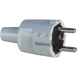 SCHUKO PVC-Stecker, grau, 2 Erdungssysteme