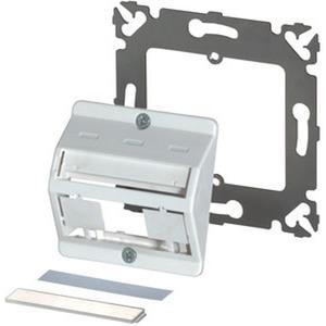 DIN KNL-Arbeitsplatzdose, 3fach, schräg, 50x50mm, ohne Plastikrahmen,  reinweiss (RAL 9010)