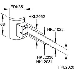 EDKD35.6, Übergangs-T-Stück, mit vorgeprägter Perforation, Höhe 68 mm, Kunststoff ASA, RAL 9001, cremeweiß