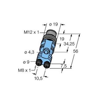 FSM4-2SKP3, 2-fach Verteilersysteme, Y-Verteiler Stecker M12 x 1 - 2x Kupplung M8 x 1