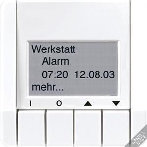 Info-Display, 4 Tasten, 4-zeilige Anzeige, Textspeicher (maximal 12 Seiten)