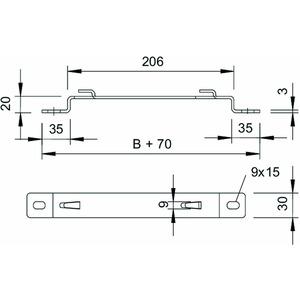 DBLG 20 150 FT, Distanzbügel für Gitterrinne B150mm, St, FT
