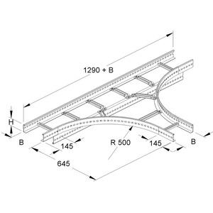 KLT 60.403 F, T-Stück für KL, 60x400 mm, mit gelochten Seitenholmen, SA 300 mm, Stahl, feuerverzinkt DIN EN ISO 1461