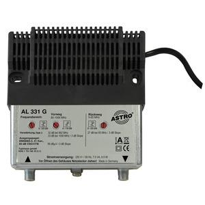 AL 331 G, Hausanschlussverstärker mit 65 MHz Rückweg, Vorweg bis 1006 MHz, Verstärkung Vorweg 33 dB, Ausgangspegel Vorweg 100 dBµV, Verstärkung Rückweg 26 dB, A