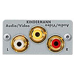 Anschlussblende mit Kabelpeitsche, Video/Audio L/R, Halbblende, Aluminium eloxiert