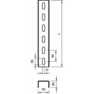 US 3 60 FS, U-Stiel 3-seitig gelocht 50x30x600, St, FS