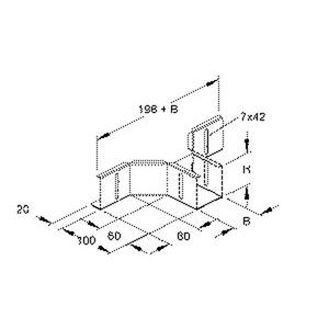 RTAK 50.100, Anbau T-Stück für Verteilerrinne, 50x102 mm, Stahl, bandverzinkt DIN EN 10346, inkl. Zubehör