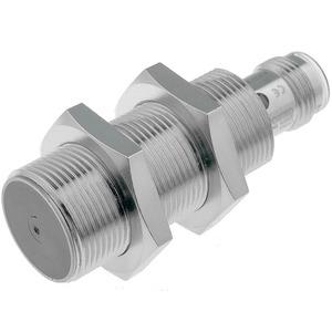 E2A-M18KS05-M1-B1, Näherungssensor, induktiv, Schaltabstand Sn=5mm, bündig, Messing-Gehäuse, zylindr. M18, 53mm lang, 500Hz, 10 to 30VDC, 3-Draht, PNP, 1S, Stecker M12 4