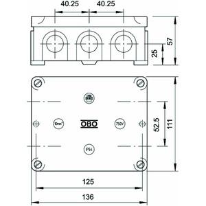 B 11 M 5, Kabelabzweigkasten mit Klemmleiste 136x111x57, UF, Typ 131.5, lichtgrau, RAL 7035