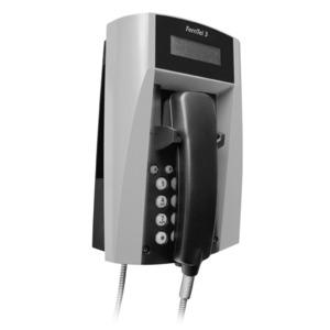 Wetterfestes Telefon FernTel 3   schwarz/gelb   mit Display   mit Panzerschnur