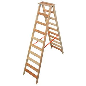 STABILO Stufen-DoppelLeiter Holz, 2x10 Stufen