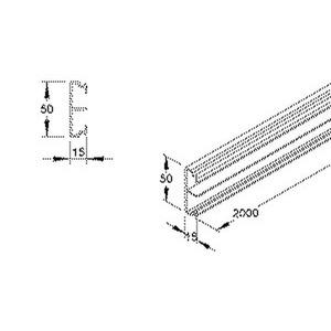 SK50, Sockelleistenunterteil, 50x15x2000 mm, Kunststoff PVC-hart, RAL 7030, steingrau