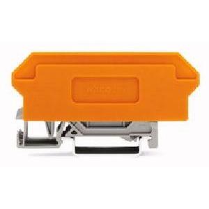 Basisklemmenblock 16-polig mit 4-Leiter-Klemmen mit orangefarbener Trennwand 2,5 mm² grau