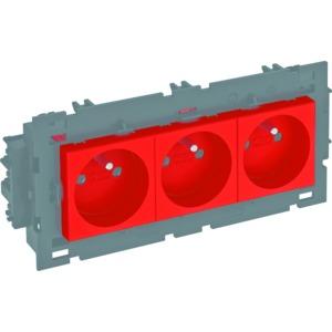 STD-F0C8 SRO3, Steckdose 0°, 3-fach mit Erdungsstift, Connect 80 250V, 10/16A, PC, signalrot, RAL 3001