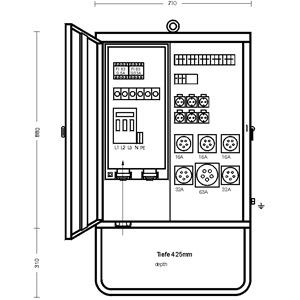 V 125/6321-2, Verteilerschrank 86 kVA mit Untergeste