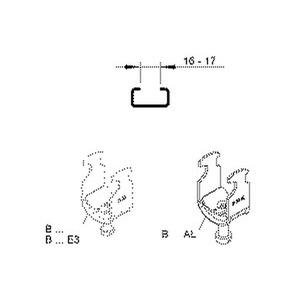 B 22 AL, Hammerfuß-Bügelschelle, für 1 Kabel, Ø 18-22 mm, Schlitzweite 16-17mm, Aluminium, mit Aluminiumdruckwanne