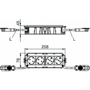 AGB3 1 2W2ORS2.5, Anschlussfertiger Gerätebecher mit PVC-Anschlussleitung