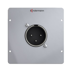 Anschlussblende mit Neutrik Einbaustecker und Lötanschluss, XLR Stecker 3-polig, Vollblende, Aluminium eloxiert