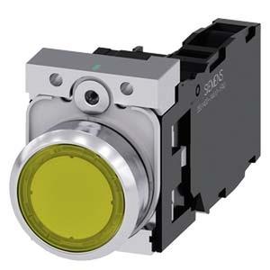 3SU1156-0AB30-1FA0, Drucktaster, beleuchtet, 22mm, rund, Metall, hochglanz, gelb, 1S+1Ö