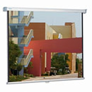 Manuelle Leinwand zur Wand- oder Deckenmontage, Federmechanismus, Format:  á4:3, Außenmaß: 123 x 160 cm, Nutzmaß: 110 x 146 cm, Tuchsorte: Mattweiß