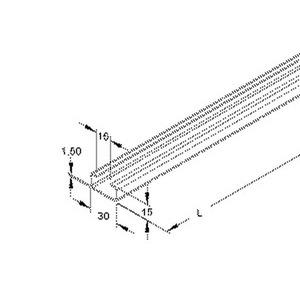 2970/2 FO, Ankerschiene, C-Profil, Schlitzweite 16 mm, 30x15x2000 mm, ungelocht, Stahl, feuerverzinkt DIN EN ISO 1461