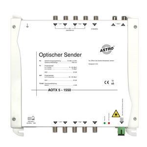 AOTX 5 1550, Optischer Sender, 5 mW Ausgangsleistung, Wellenlänge 1550 nm, elektrische Eingänge für Direktanschluss eines Standard-LNB, mit LNB-Versorgung 14 V 200