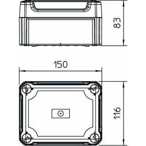 T 100 OE HD TR, Kabelabzweigkasten geschlossen mit hohem transparentem Deckel 150x116x83, PP/PC, lichtgrau, RAL 7035
