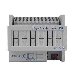 J6F6H-2, 6A, KNX standard Jalousie-/Rollladenaktor 6-fach, Handbedienung ohne Busspg., 6 TE; Schaltleistung 6A 250 VAC