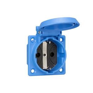 1661050, SCHUKO Einbausteckdose, blau, IP54, mit Schraubanschluss