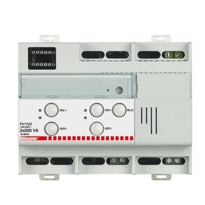 Reiheneinbaudimmer mit 2 Ausgängen je 400 VA, 2 Testtasten und Kontroll-LEDs, 6 TE DIN
