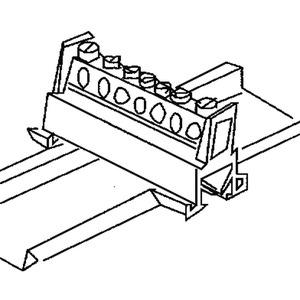 651N/7, Null- und Schutzleiterklemme, mit 7 Klemmstellen, Kunststoff PA, RAL 5010, enzianblau