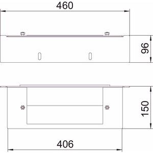 BSKM-GW 1025RW, Gegenplatte Wandanschluss I120 für abgehängte Montage 100x250, St, L, reinweiß, RAL 9010