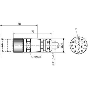 RC18EF15M-C1825, LEITUNG M BUCHSENSTECKER, RC18EF15M-C1825