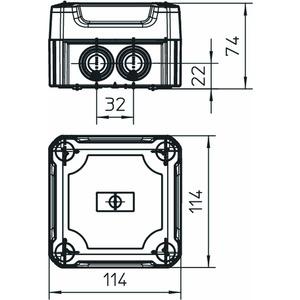 T 60 HD LGR, Kabelabzweigkasten mit hohem Deckel 114x114x76, PP/PC, lichtgrau, RAL 7035