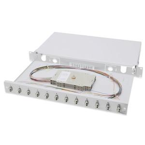 Ausziehbare Glasfaser - Spleißbox, 1U, Equipped 12xLC duplex, inkl. M 25 Schraube, Spleißkassette Farbige Pigtails OM2, Adapter