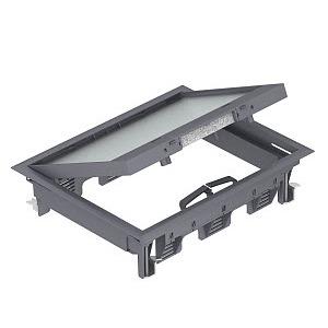 GES6-2U10T 9011, Geräteeinsatz für Universalmontage 274x221x66, PA, graphitschwarz, RAL 9011