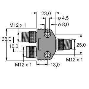 VB2-FSW/FKW/FSW 45, Profibus-Y-Stück, komplett geschirmt, 12 MBit/s